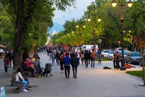 Panfilova Street in Almaty, Kazakhstan
