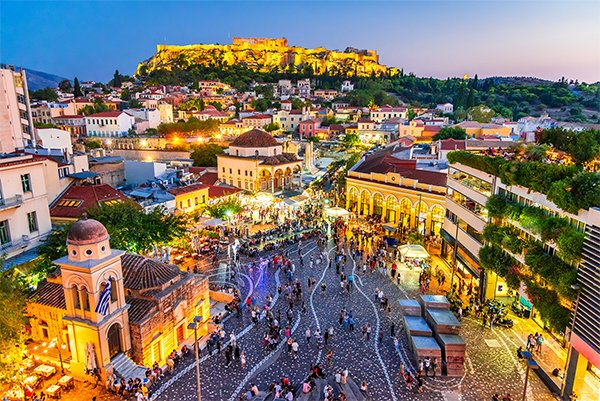 Crowded Market in Athens, Greece