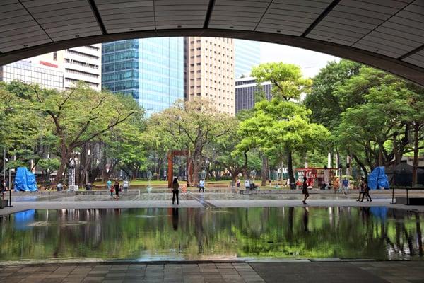 Ayala Triangle in Makati City, Metro Manila, Philippines