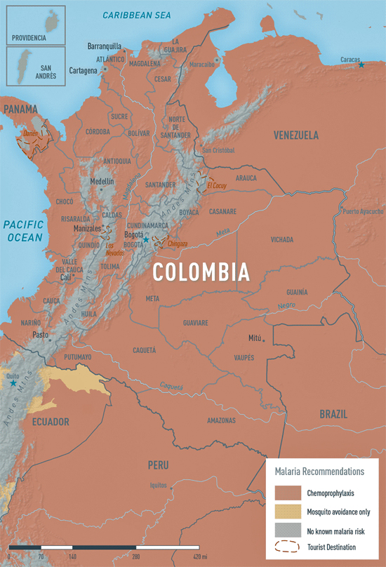 malaria risk map of colombia