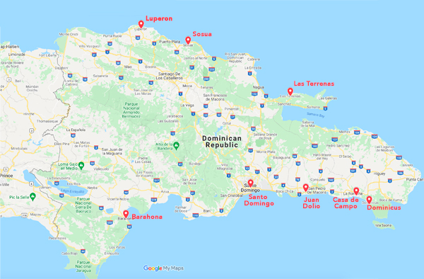 Map of Best Places to Live in Dominican Republic