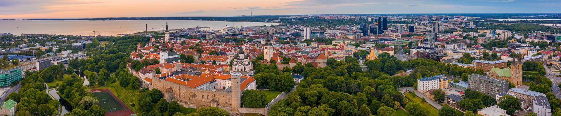 Aerial View of Old Town Tallinn, Estonia