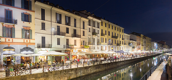 The Navigli district in Milan, Italy