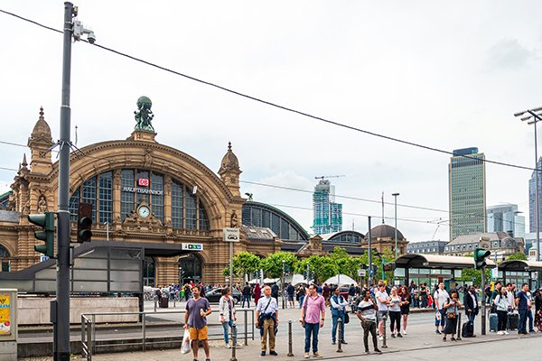 Main train station in Frankfurt, Germany