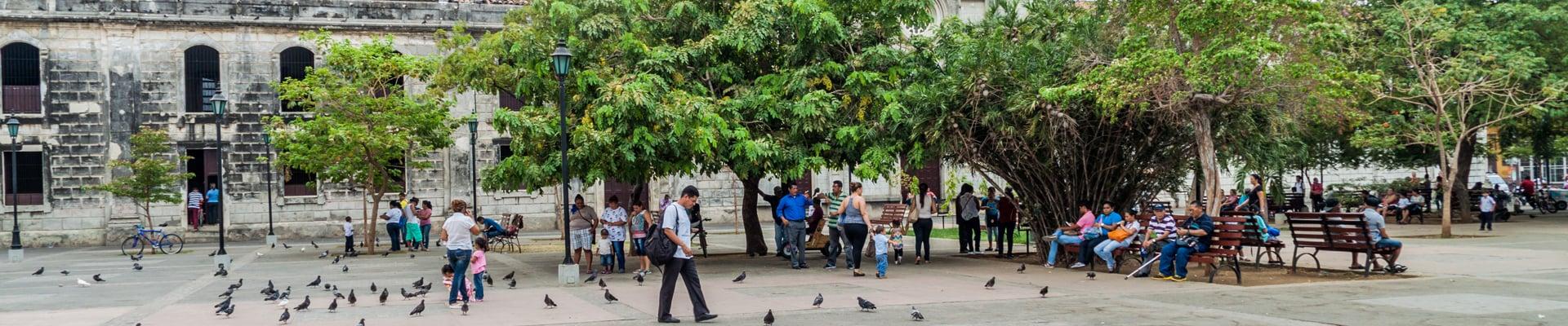 Parque Central Square in Leon, Nicaragua