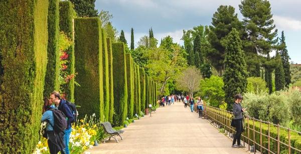 The Alhambra Garden in Granada, Spain