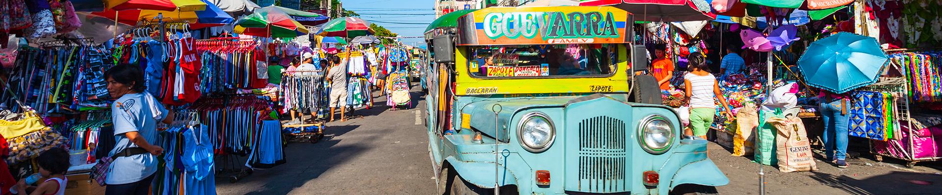 Jeepneys, a popular form of transportation in Manila, Phillipines