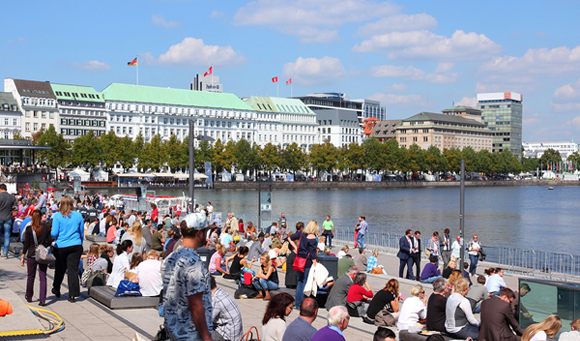Binnenalster Lake in Hamburg, Germany